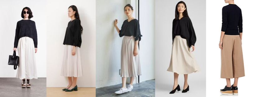 5 images of women in black tops and long tan trousers or skirts